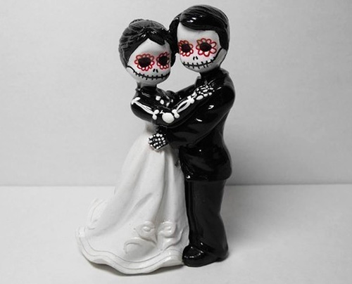 day of the dead wedding cake topper bride and groom march wedding