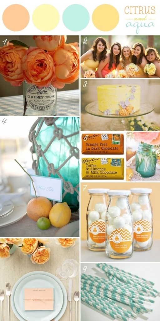 Example of how to combine citrus colors like Orange and Yellow with opposite colors like turquoise.