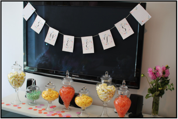 This is the candy buffet I created for my friend Bettie's Baby Shower